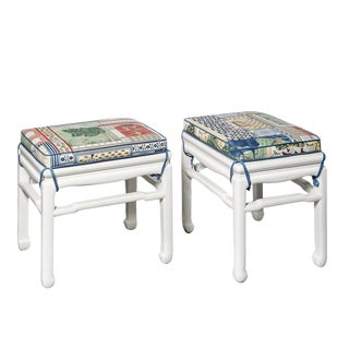 Vintage Asian Style White Lacquer Stools With Cushions, A-Pair For Sale