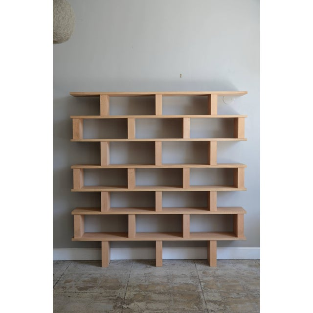Wood Contemporary Design Frères Verticale Polished Oak Shelving Unit For Sale - Image 7 of 7