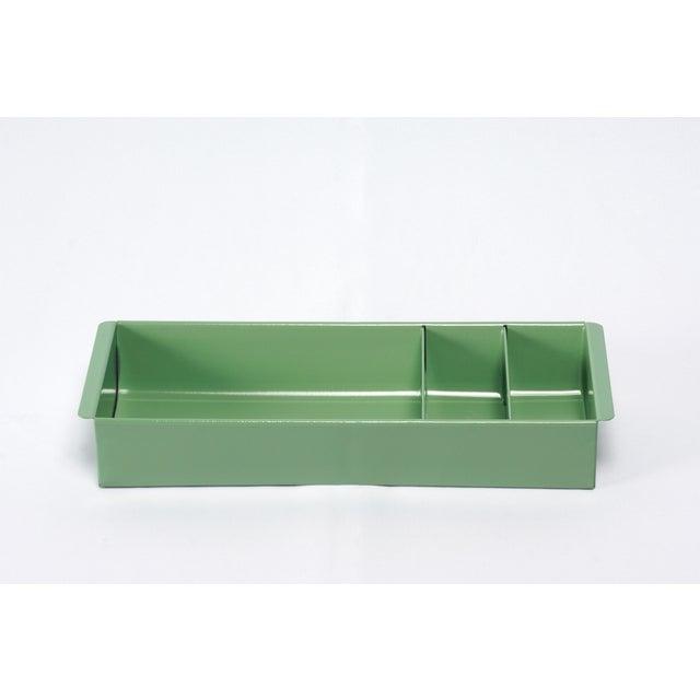 1960s Steel Tanker Drawer Insert Repurposed as Desktop Organizer, Refinished in Sage Green For Sale - Image 5 of 8
