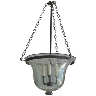 French Vintage Bell Jar Pendant With Iron Chain Fittings and Frosted Glass. For Sale