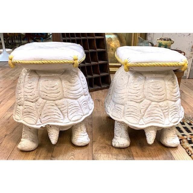Mid Century Pair, Italian Turtle Garden Seats For Sale - Image 4 of 12