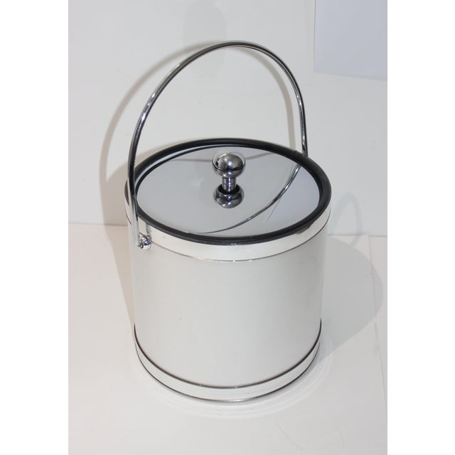 Vintage Ice Bucket Polished Stainless Steel and Mylar For Sale - Image 11 of 12