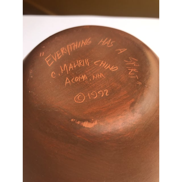"1990s Acoma Pueblo Pottery Signed C. Maurus Chino, ""Everything Has a Spirit"" For Sale - Image 5 of 6"