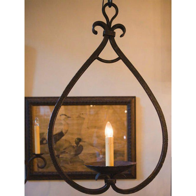 """Custom """"Mahoning"""" Hand-Forged, Large Wrought-Iron Pendant For Sale - Image 4 of 11"""