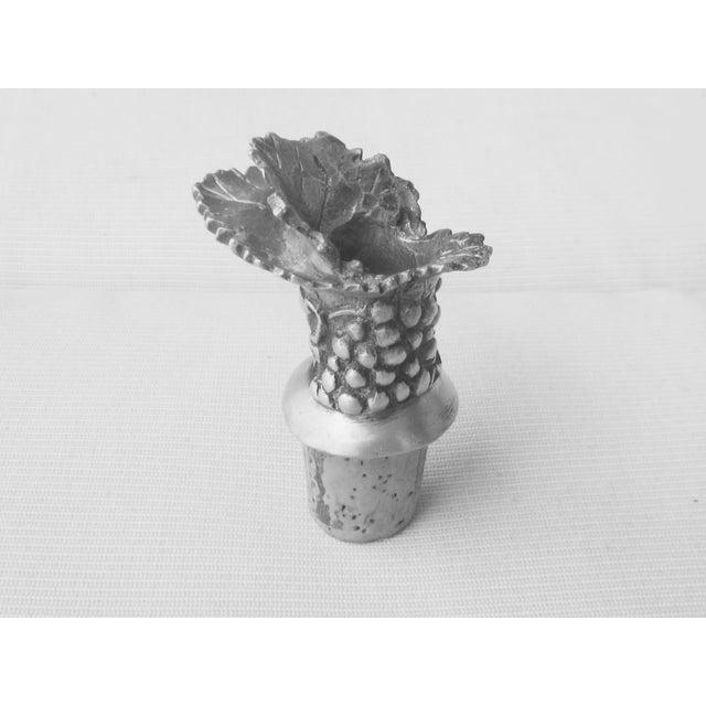 Figurative Pewter Cork Grape Motif Bottle Stopper For Sale - Image 4 of 4