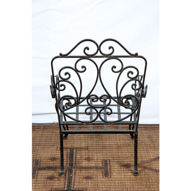 Iron Pair of Iron French Armchairs in the Style of j.c. Moreux For Sale - Image 7 of 10