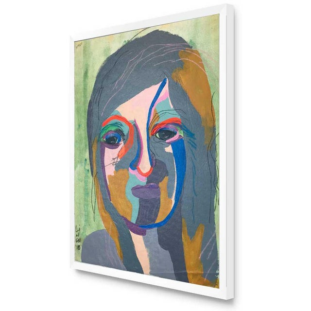 """Abstract Contemporary Abstract Portrait Painting """"She's the Girl"""" - Framed For Sale - Image 3 of 12"""