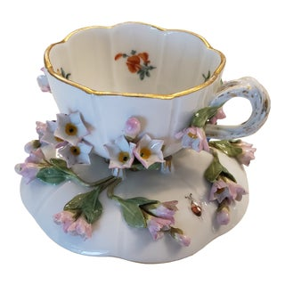19th Century Meissen Porcelain Cup & Saucer with Applied Flowers For Sale