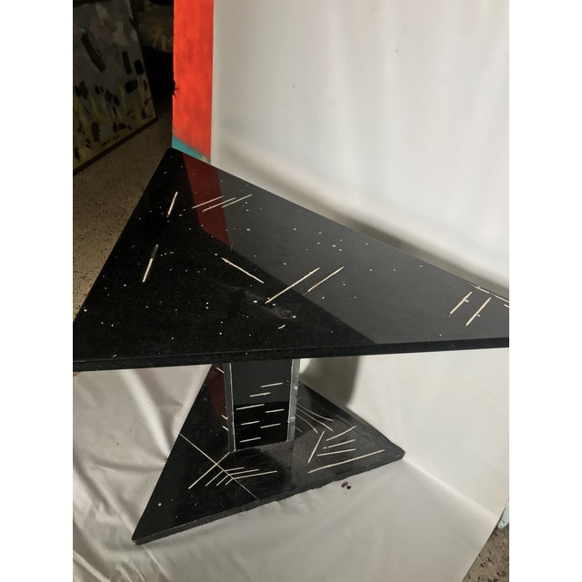 Stone 1980s Postmodern Black Marble Side Table For Sale - Image 7 of 8