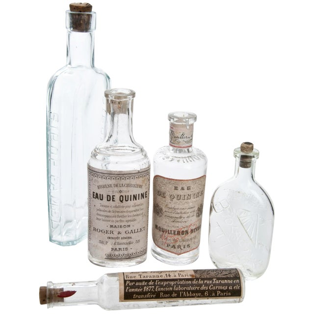 Set of Five Vintage French Pharmacy Bottles For Sale
