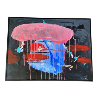 """1980s """"American Graffiti"""" Abstract Mixed-Media Painting, Framed For Sale"""