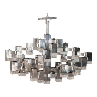 1960s Large Chromed Steel and Glass Cubist Chandelier by Gaetano Sciolari For Sale