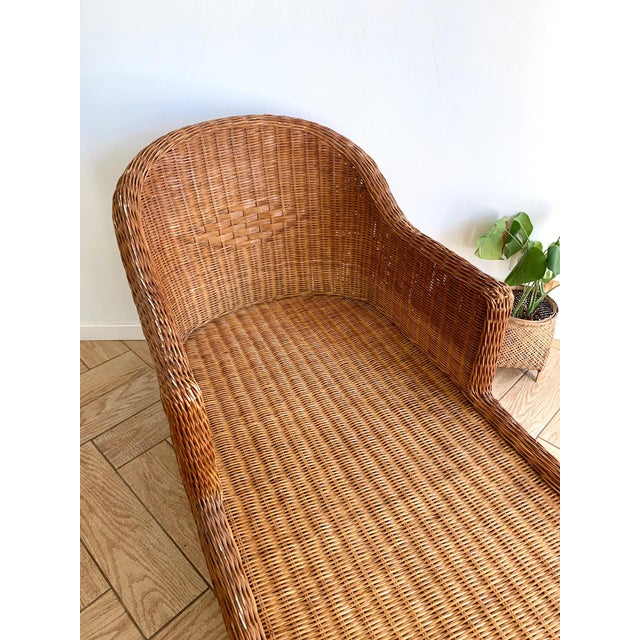 1990s Vintage Wicker Chaise For Sale In San Diego - Image 6 of 11