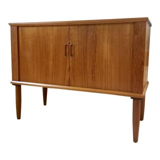 1960s Danish Modern Teak Record Cabinet With Tambour Doors For Sale