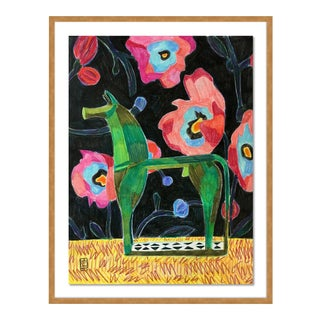 Bronze Horsey by Jelly Chen in Gold Framed Paper, Small Art Print For Sale