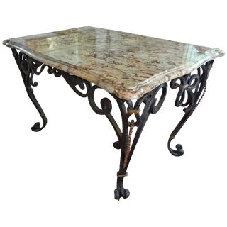 1940s French Marble Top Wrought Iron Center Table For Sale