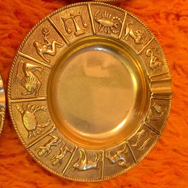 Brass Zodiac Ashtrays- Set of 4 For Sale - Image 4 of 7