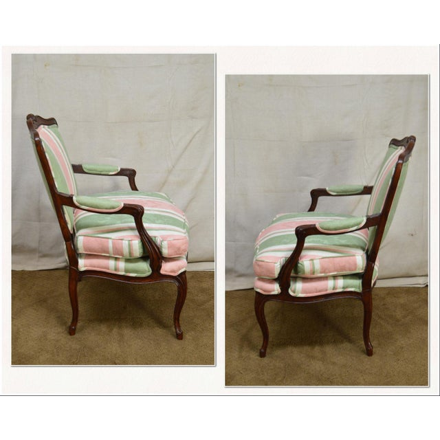*STORE ITEM #: 18161-ax French Louis XV Style Custom Quality Fauteuil Arm Chair AGE / ORIGIN: Approx. 25 years, America...