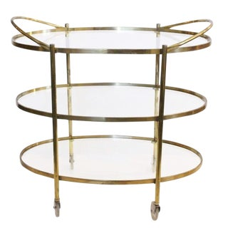 Three Tier Mid-Century Style Brass Bar Cart For Sale