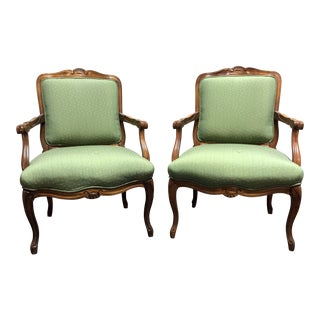 Vintage French Provincial Louis XV Style Bergere Arm Chairs by Sam Moore - Pair For Sale