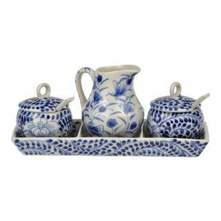 Vintage Hand-Painted Blue & White Porcelain Cruet Set- 4 Pieces For Sale