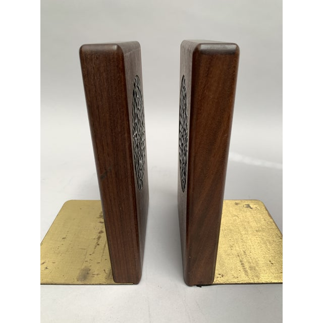 Brown Mid-Century Modern Walnut and Tile Bookends - a Pair For Sale - Image 8 of 10
