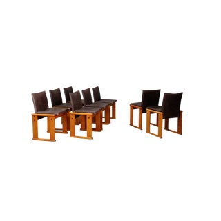 Afra & Tobia Scarpa Set Midcentury Chair for Molteni, Monk Series, 1970s For Sale
