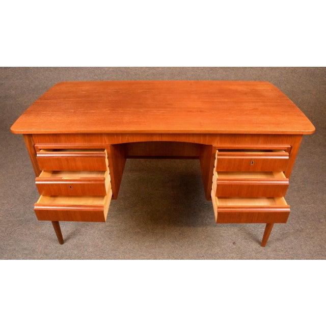 e005cfd087de9 Teak Vintage Danish Mid-Century Teak Writing Desk For Sale - Image 7 of 11