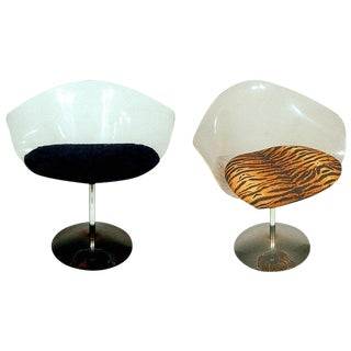 Charles Hollis Jones Lucite and Chrome Swivel Chairs For Sale