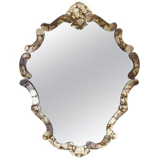 Large 1940's Italian Hollywood Regency Venetian Shield Mirror For Sale