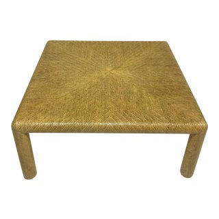 1970s Boho Chic Grasscloth Wrapped Coffee Table For Sale