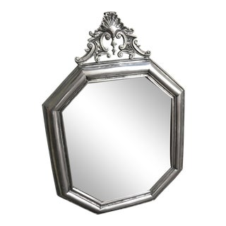 Rustic Shell and Scroll Octagonal Pewter Wall Mirror For Sale