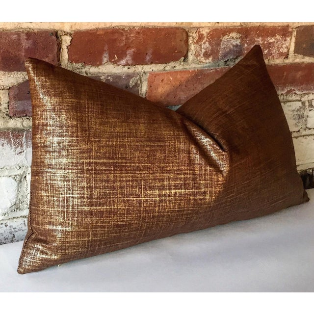 Copper & Gold Metallic Linen Pillow Cover - Image 2 of 4