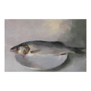 "Pöyhönen Framed Oil Painting ""Fish"", Contemporary Gray Still Life For Sale"