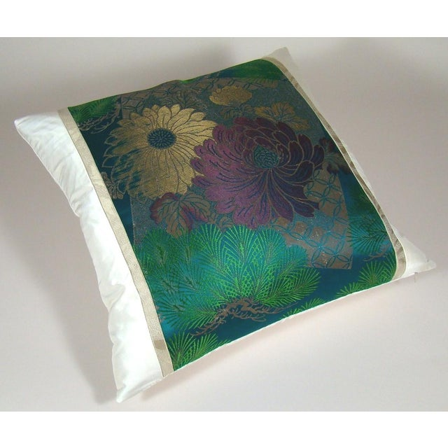 Japanese Antique Japanese Silk Obi Lotus Flower Pillow Cover For Sale - Image 3 of 10