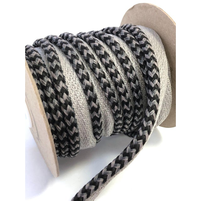 "Braided 1/4"" Indoor/Outdoor Cord in Charcoal & Gray For Sale In New York - Image 6 of 10"