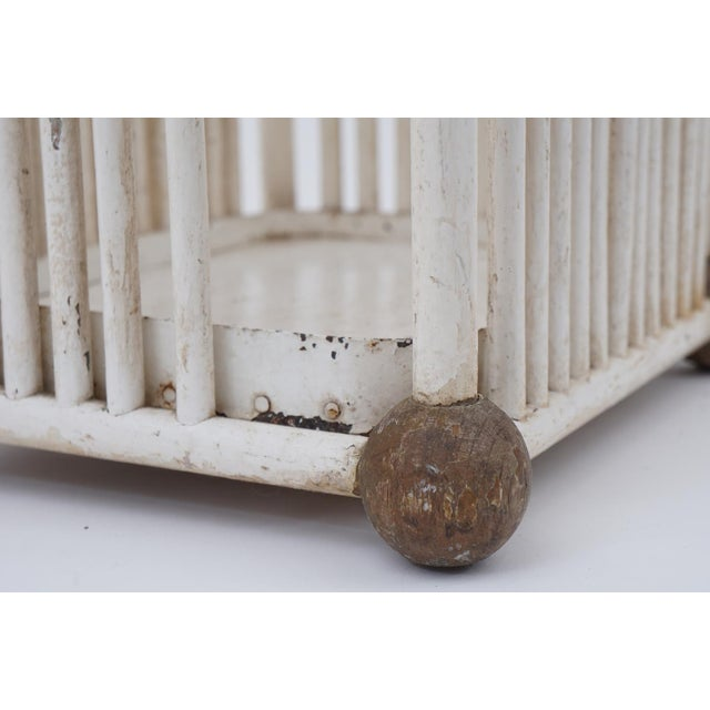 White Painted Stick & Ball Umbrella Stand For Sale In New York - Image 6 of 6