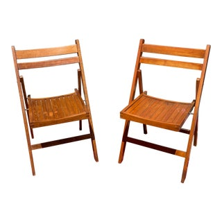 Vintage Romanian Brown Wooden Folding Chairs - a Pair For Sale