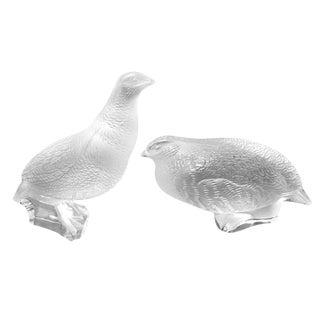 Vintage Crystal Lalique Quails -- Birds