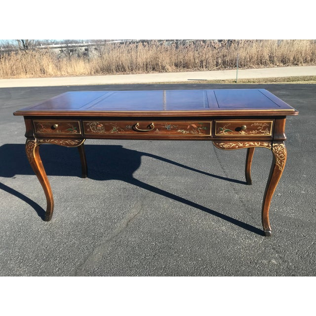 Lincoln style writing desk, leather inlay, gorgeous chinoiserie painting on all sides of desk and chair. Leg clearance...