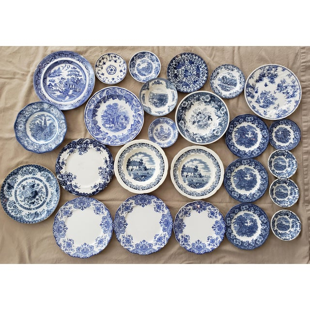 Vintage Blue & White China Plates-Set of 25 For Sale - Image 9 of 9