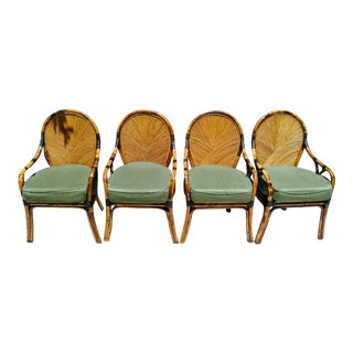 Maitland Smith Split Reed and Burnt Bamboo Dining Room Chairs Set of 4 For Sale