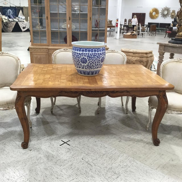 Wood French Parquetry Top Dining TBle For Sale - Image 7 of 9