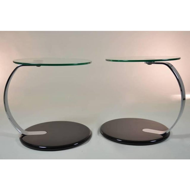 Mid-Century Modern Pair of Modernist Chrome and Glass Tables For Sale - Image 3 of 10