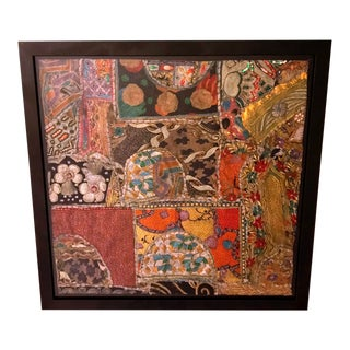Framed Vintage Embroidered Saris Textile Eclectic Tapestry Art For Sale