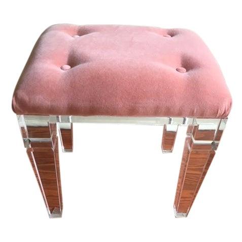 Acrylic Legged Stool & Coral Cushion - Image 1 of 4