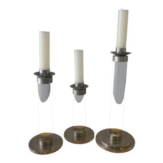 1970's Mid-Century Modern Fat Graduated Lucite and Chrome Candlesticks - Set of 3 For Sale