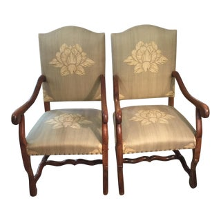 Late 1800s Antique French Louis XIV Walnut Armchairs - a Pair For Sale