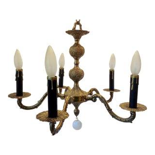 Spanish Five Light Brass Chandelier For Sale