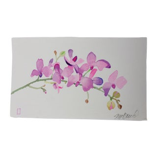 Mulberry Orchid Watercolor Painting For Sale